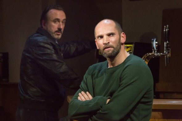 Declan Conlon as Ian and Patrick O'Kane as Jimmy in Quietly at the Soho Theatre