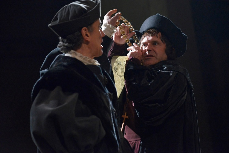 Ben Miles as Thomas Cromwell and John Ramm as Thomas More in Wolf Hall. Photographer Keith Pattison.