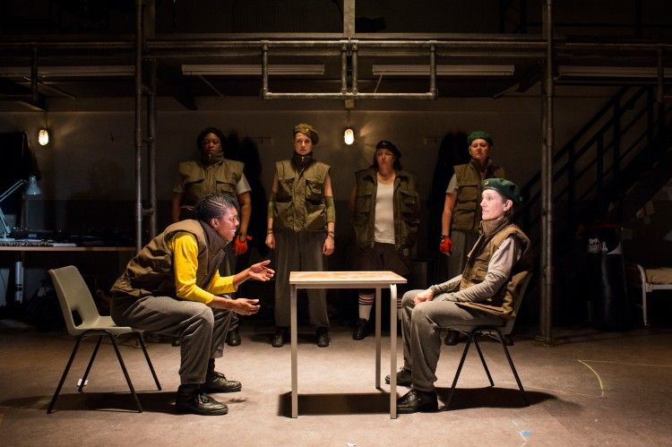 Ann Ogbomo (Worcester) and Harriet Walter (King Henry) in Phyllida Lloyd's Henry IV at the Donmar Warehouse. Credit: Helen Maybanks