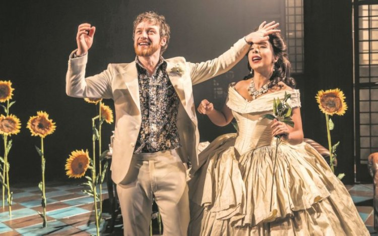 James McAvoy as Jack Gurney and Kathryn Drysdale as Grace Shelley in The Ruling Class, Trafalgar Studios