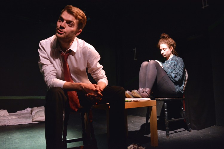 Jon Cottrell as Peter Finch and Asha Reid as Hannah Jessop in Velvet Trumpet's Money Womb