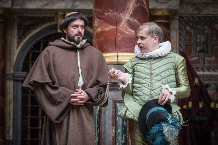 Dominic Rowan as Duke Vincentio in his Friar disguise and Brendan O'Hea as Lucio in the Globe's Measure for Measure